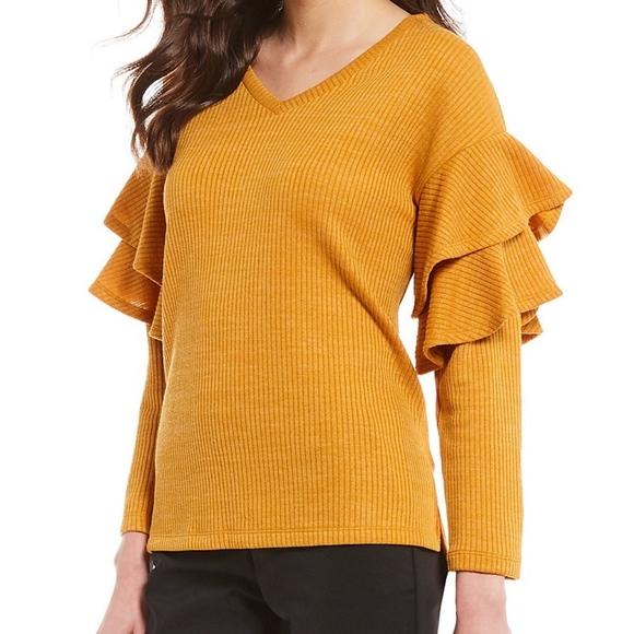 Gibson Latimer Sweaters - NWT Dillard's Gibson & Latimer Ruffle Sweater